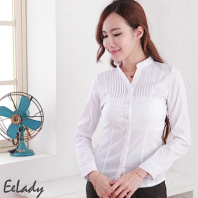 EELADY-OL立領U壓摺條紋長袖襯衫(白色)