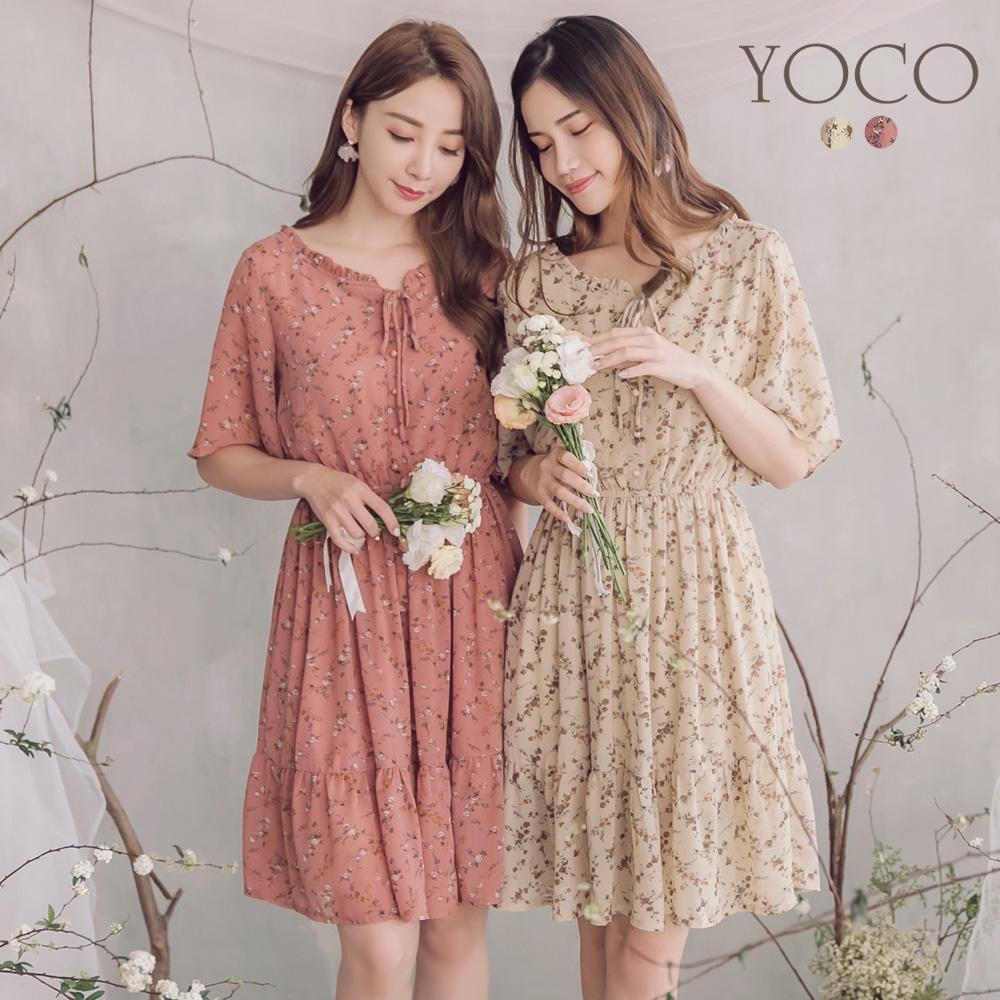 東京著衣-YOC  氣質滿版碎花荷葉滾邊洋裝-S.M.L(共兩色)