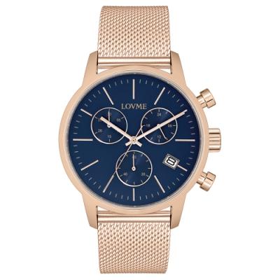 LOVME 城市獵人個性米蘭時尚手錶-IP玫x藍/43mm