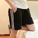 La Belleza鬆緊腰抽繩側滾邊白色三條側口袋黑色短褲