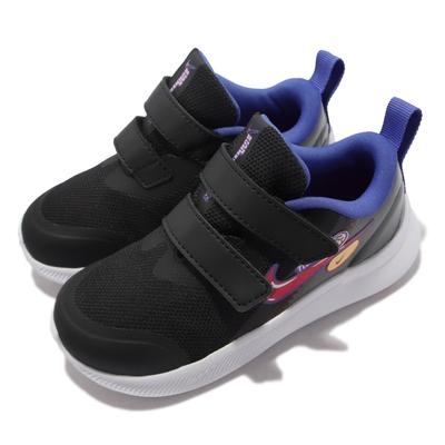 Nike 慢跑鞋 Star Runner 3 SE 童鞋 輕量 魔鬼氈 舒適避震 小童 童趣印花 黑彩 DJ4696-013