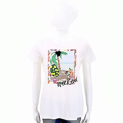 Max Mara-WEEKEND 串珠果實白色印花棉質T恤
