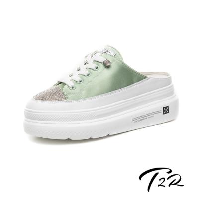 T2R-正韓空運-增高鞋涼鞋拖鞋真皮緞面厚底鞋-增高6公分-綠