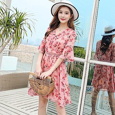 DABI 韓國風時尚收腰顯瘦V領氣質雪紡碎花短袖洋裝