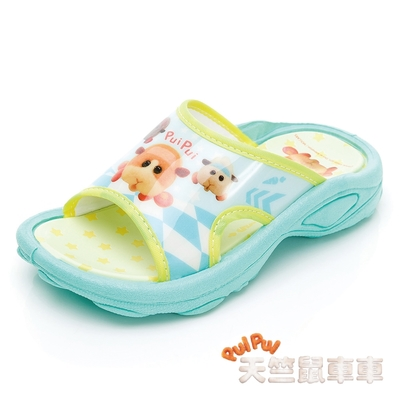 【天竺鼠車車】童鞋 輕量彈力拖鞋/耐磨 緩震 正版台灣製(PUKS10805湖水綠)