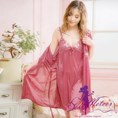 睡衣 全尺碼 V領網紗冰絲睡裙罩衫二件式睡衣組(女神深豆沙) Sexy Meteor