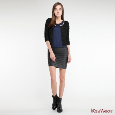 KeyWear奇威名品     絲質100%柔美優雅拼接小點點八分袖洋裝-藍色