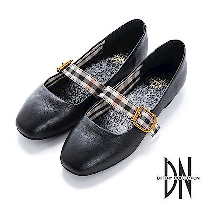 DN 簡約舒適 真皮背帶格紋娃娃鞋-黑