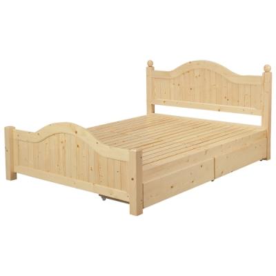 Boden-羅斯5尺實木雙人床架-抽屜型(實木床板)