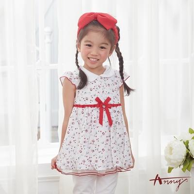 Annys安妮公主-帆船與小海豚之歌-舒適純棉小圓領花苞短袖長上衣*8170紅