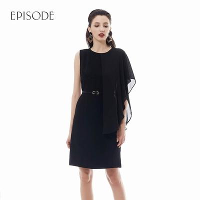 EPISODE - 氣質圓領不對稱袖口雪紡洋裝