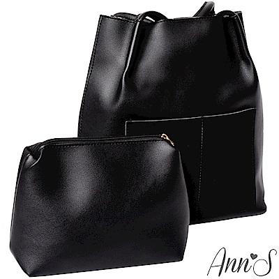 Ann'S文青女孩-素面大容量肩背水桶包-黑