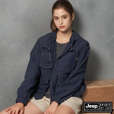 Jeep 女裝 多口袋功能連帽外套-海軍藍