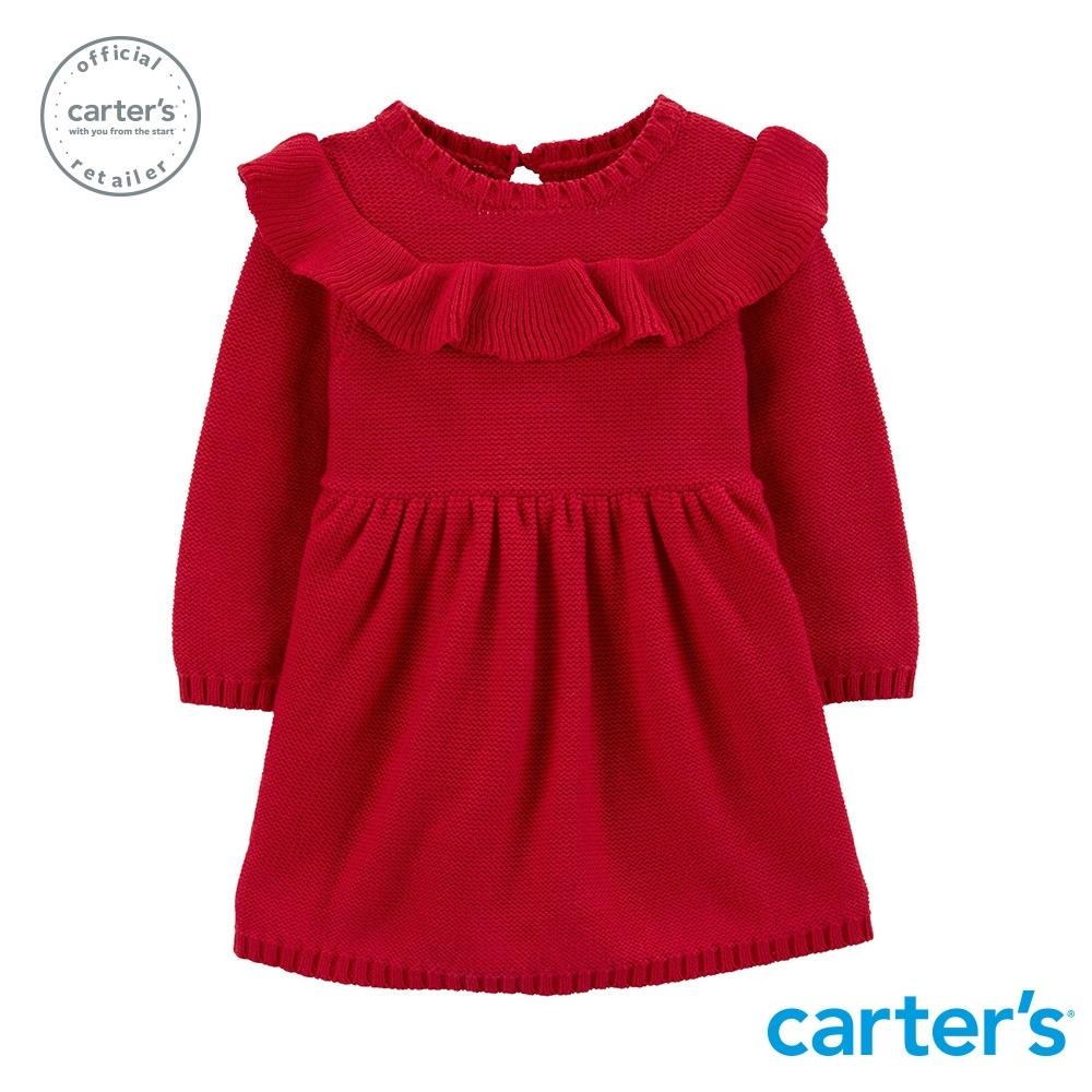 【Carter's】 針織荷葉邊長袖洋裝 (台灣總代理)