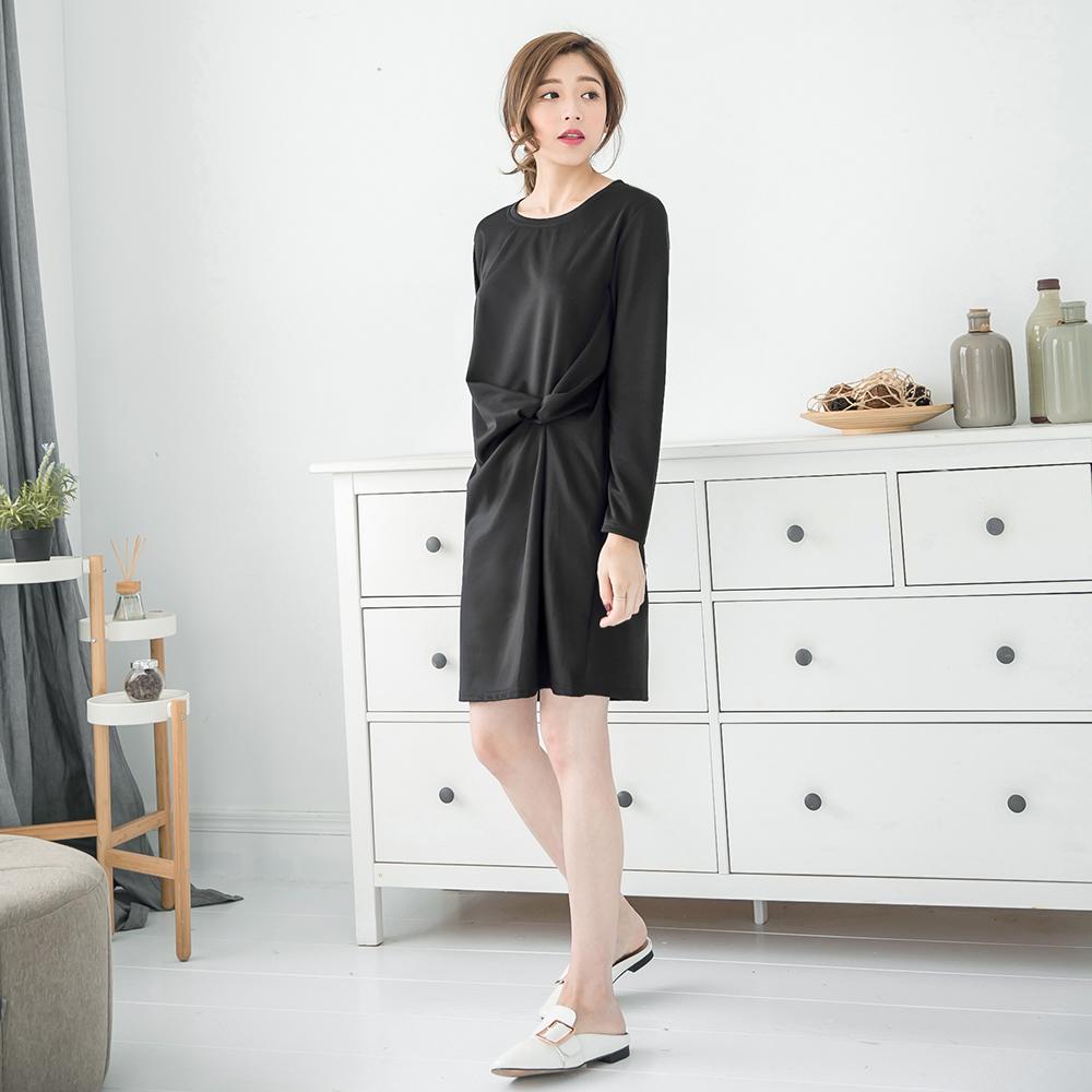 素面抓褶造型長版上衣/洋裝-OB嚴選