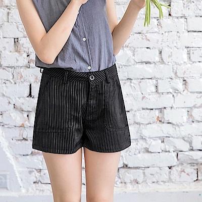 情侶系列~黑白條紋挺括西裝短褲-OB大尺碼