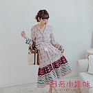 日系小媽咪孕婦裝-孕婦裝 靜謐渡假圖騰腰抽繩排釦罩衫/洋裝