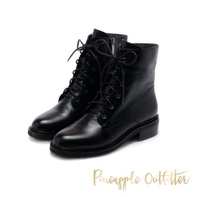 Pineapple Outfitter-BINDI 率性真皮綁帶拉鍊軍靴-黑色