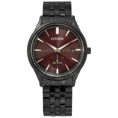 CITIZEN 光動能 礦石強化玻璃 日期 夜光指針 不鏽鋼手錶-咖啡x鍍黑/40mm