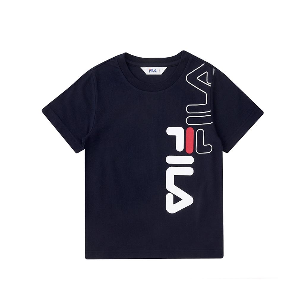 FILA KIDS 童短袖圓領上衣-丈青 1TEV-4502-NV