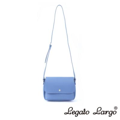 Legato Largo Lusso 別緻復古小金釦翻蓋斜背包 藍灰色