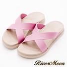 River&Moon拖鞋-寬版交叉Q軟輕量防水羅馬休閒拖鞋-紫紅