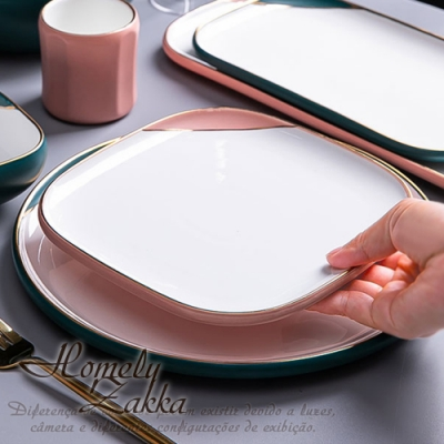Homely Zakka 北歐輕奢風啞光金陶瓷餐具_方形平盤19.5cm(少女粉)
