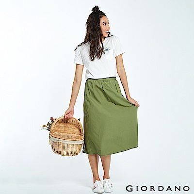 GIORDANO 女裝純棉素色簡約長裙-51 凱旋綠