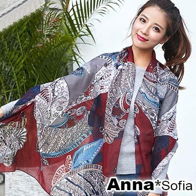 【2件450】AnnaSofia 波亞圖騰 拷克邊韓國棉圍巾披肩(酒紅系)