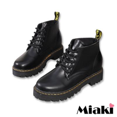Miaki-踝靴經典綁帶厚底短靴-黑