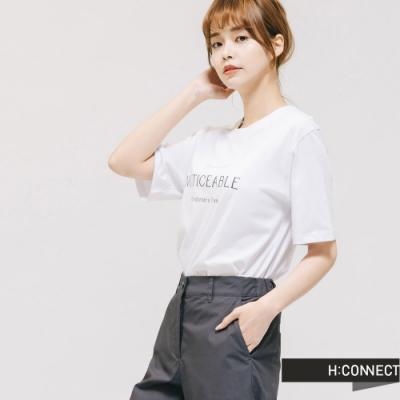 H:CONNECT 韓國品牌 女裝 -純色圓領標語T-shirt - 白