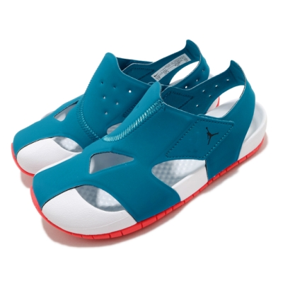 Nike 涼鞋 Jordan Flare 套腳 童鞋 輕便 夏日 快速排水 喬丹 魔鬼氈 中童 藍 白 CZ4174400