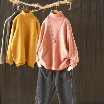 素色菱格開叉螺紋高領毛衣寬鬆加厚針織衫-設計所在