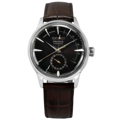 SEIKO 精工 PRESAGE 自動上鍊 壓紋牛皮機械錶-深褐色/40mm