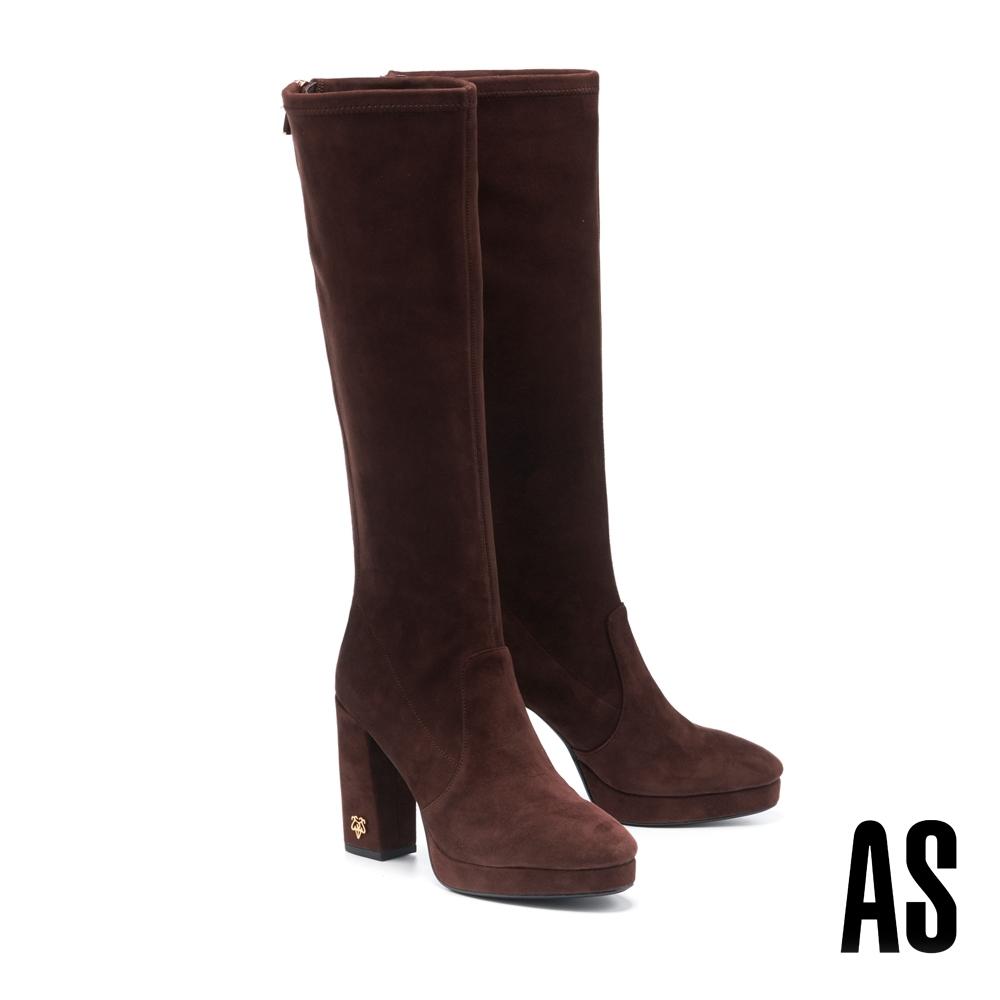 長靴 AS 復古時髦新經典金屬 LOGO 羊麂皮美型高跟長靴-咖