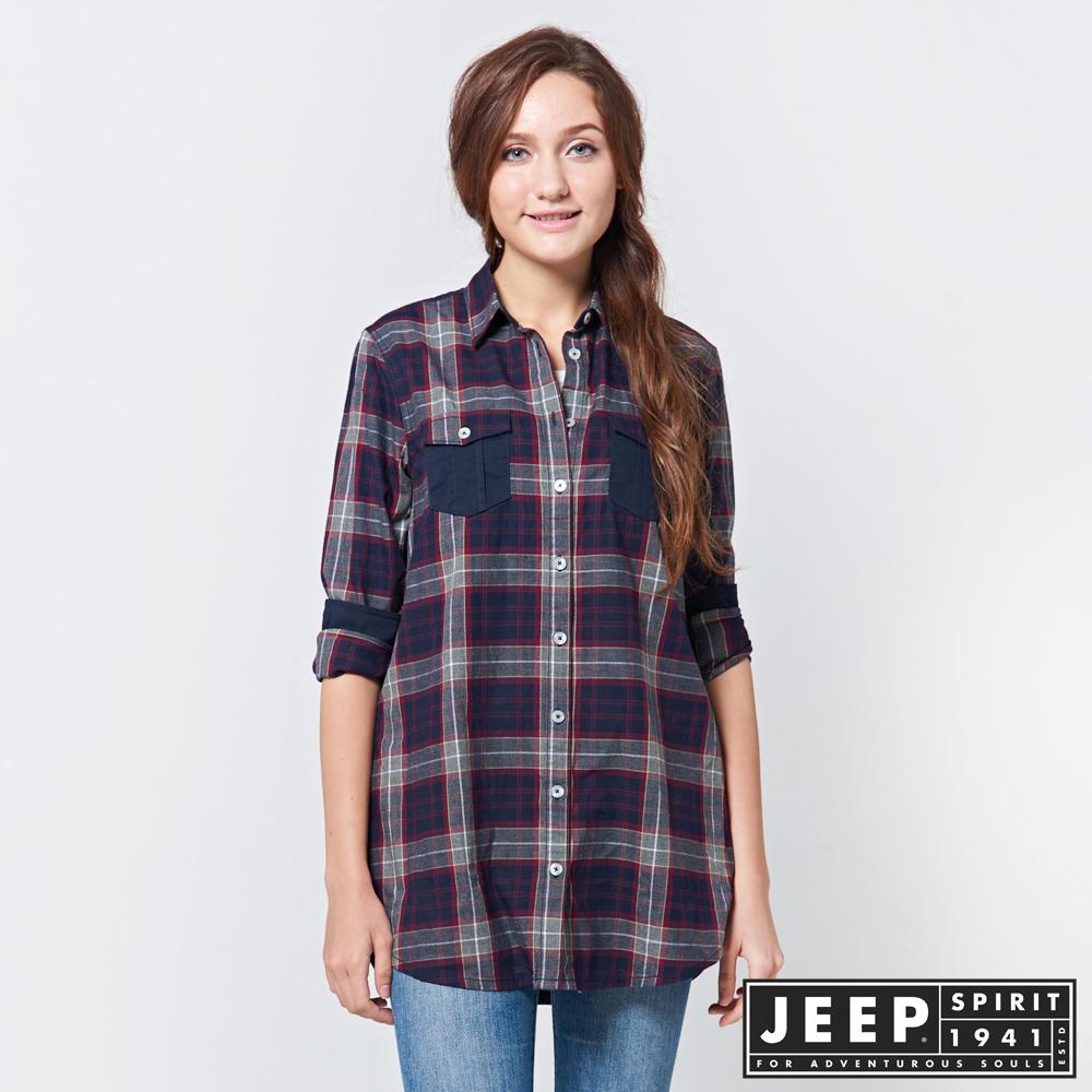 JEEP 女裝 拼接造型格紋長版襯衫 -紅藍格