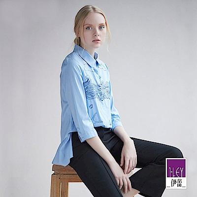 ILEY伊蕾 率性海洋風刺繡上衣(藍)