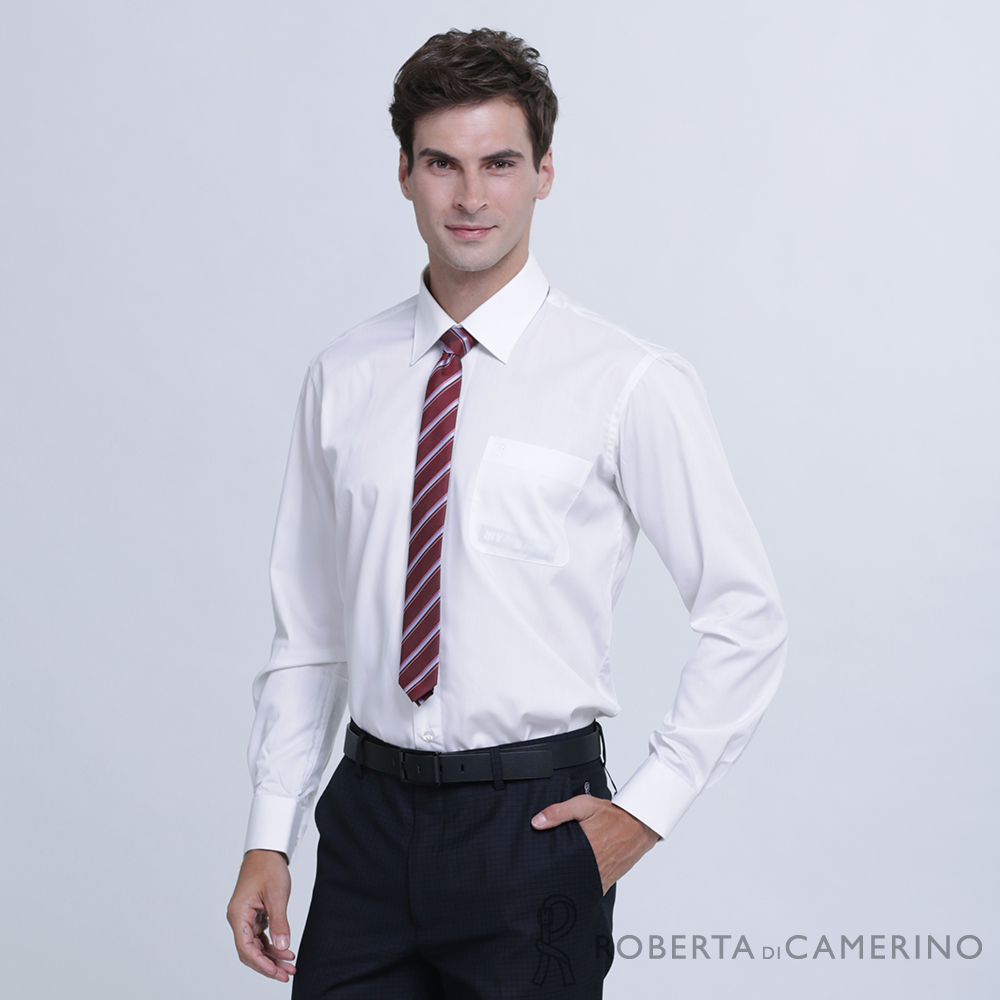 ROBERTA諾貝達 台灣製 吸濕速乾 素色長袖襯衫  白色