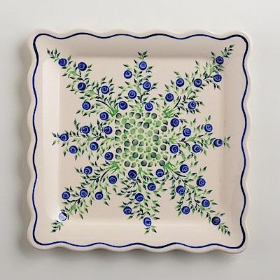 波蘭陶手工製 粉紫浪漫 方形餐盤24cm