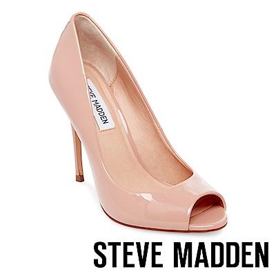 STEVE MADDEN-DIANE 素面尖頭露趾高跟鞋-粉紅