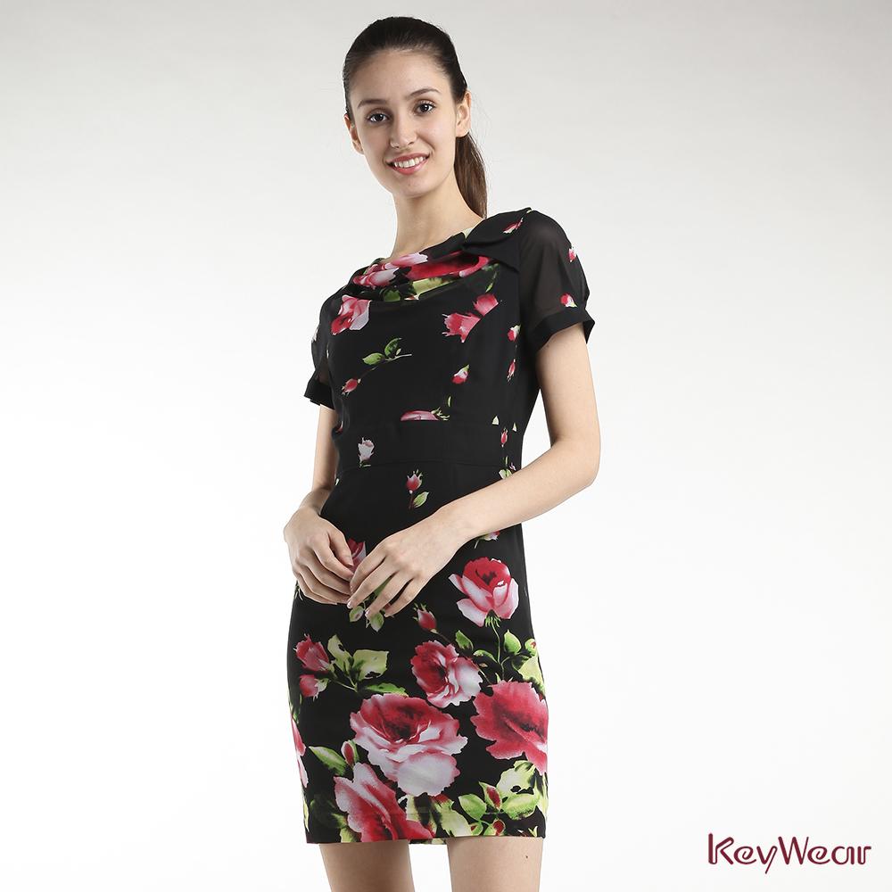 KeyWear奇威名品    懷舊復古花卉短袖洋裝-黑色