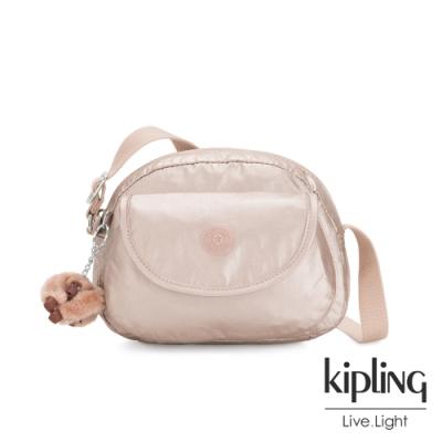 Kipling 金屬光玫瑰金翻蓋側背小包-STELMA