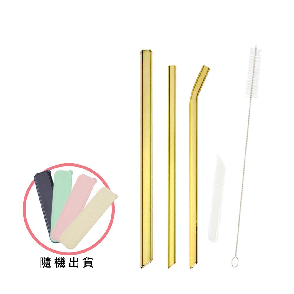 AURA 艾樂 晶亮耐熱多彩玻璃吸管6件組(7色可選)