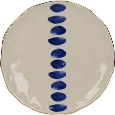 《CreativeTops》金邊靛藍淺餐盤(波點19cm)