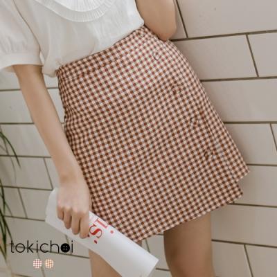 東京著衣 日系微甜不對稱下襬格紋A字裙-S.M.L(共兩色)