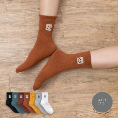 阿華有事嗎  韓國襪子 素色百搭方塊笑臉中筒襪 K0908 韓妞必備 正韓百搭純棉襪