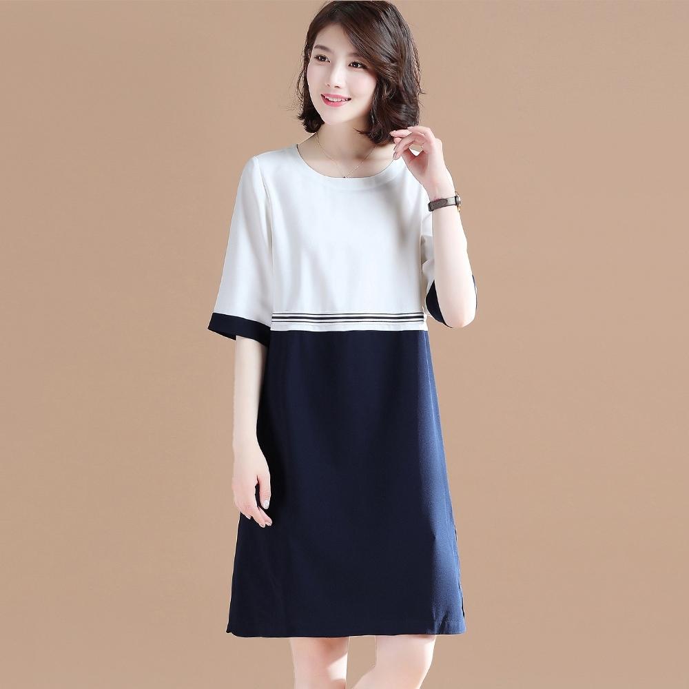 初色  氣質拼接連衣裙-白色-(M-2XL可選)