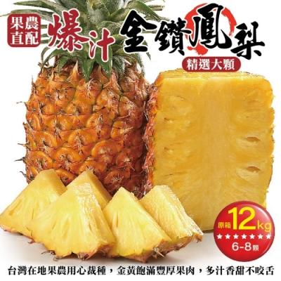 【果農直配】嚴選外銷等級大顆金鑽鳳梨原箱12kg(約6-8顆)