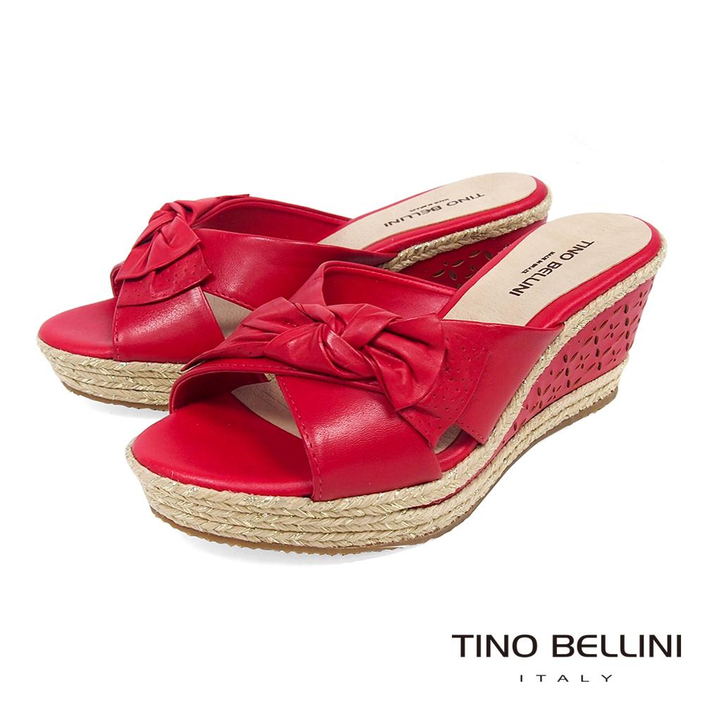Tino Bellini 巴西進口雙層紐結皮雕楔型涼拖鞋 _ 紅