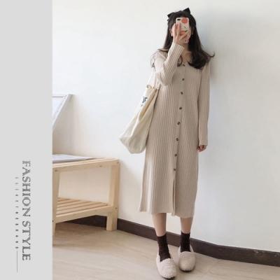 2F韓衣-簡約素色排扣造型洋裝-2色(S-XL)